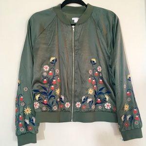 Green floral bomber jacket